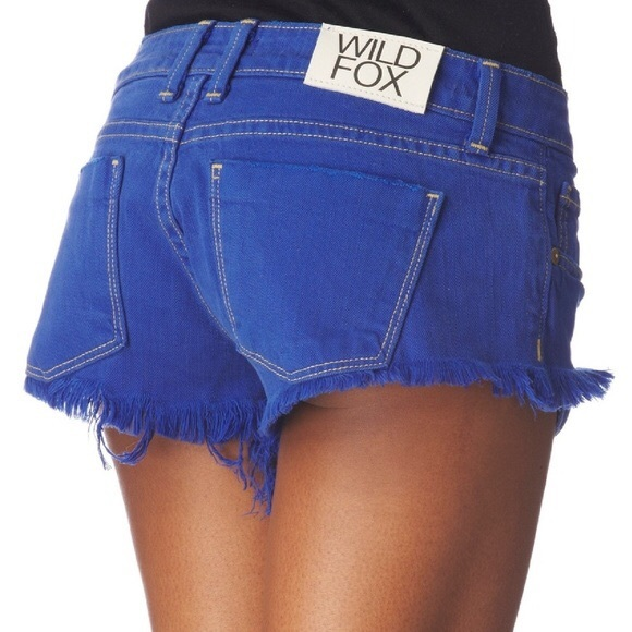 Wildfox Pants - Wildfox Overdyed Friday Night Shorts in Cobalt